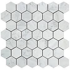 carrara white italian marble hexagon mosaic tile 1 inch