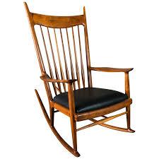 Sam Maloof Style Rocking Chair In White Oak