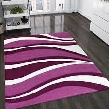 details zu wohnzimmer teppich lila pink weiss kurzflor teppiche wellen muster pflegeleicht
