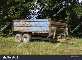 Old Farm Trailer Once Painted Blue Now Rusty