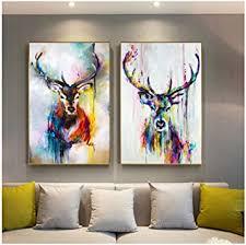 keliour moderne kunst wandbild bunte hirsch bilder tier poster leinwand malerei wandkunst für wohnzimmer home dekorative bilder 60x80cm kein rahmen