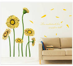 2016 New Design Yellow Daisies Sunshine DIY Bedroom Kitchen Wall Stickers Waterproof Removable Home Decor