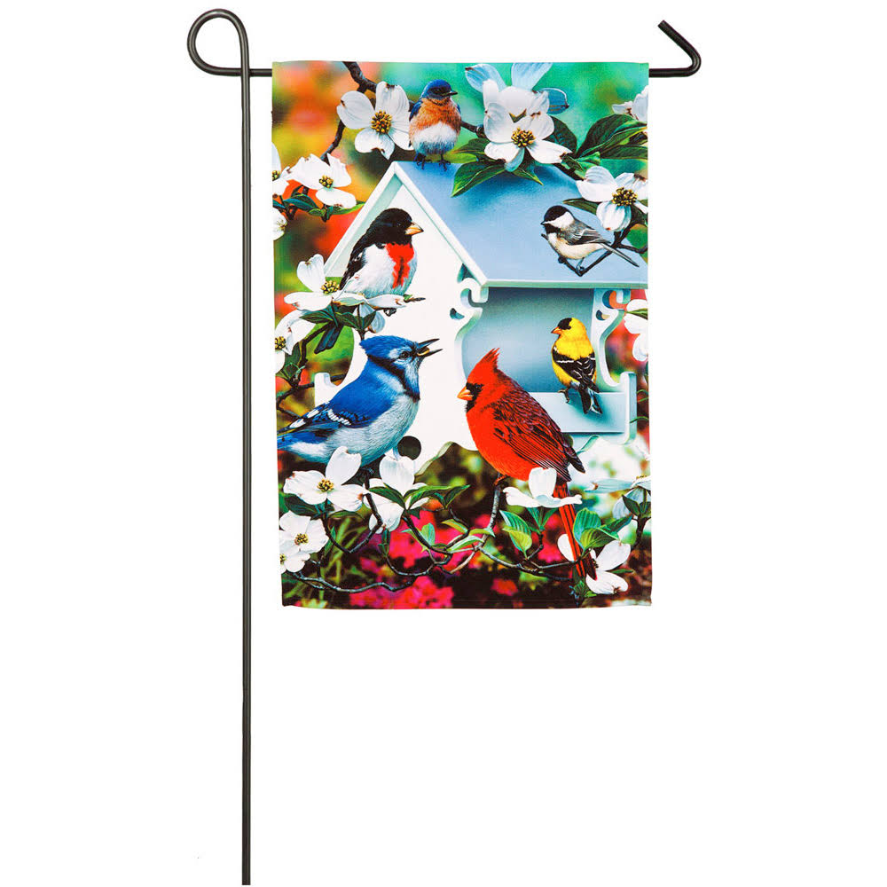 Evergreen Flag Backyard Birds Flag