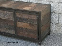 Rustic Industrial Media Console Credenza Reclaimed Wood Handmade Buffet Hutch