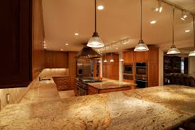 design ideas yellow river granite and track lighting in