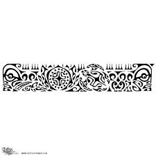 Black Ink Polynesian Armband Tattoo