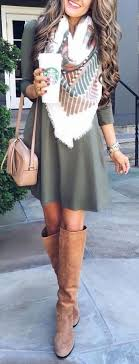 Fall Outfits Pattern Print Scarf Longsleeve Dress And Great Knee High Boots Fashion For The Modern
