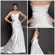 satin sweetheart sheath wedding dresses corset chapel train floral