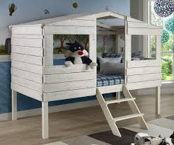 Twin Size Tree House Low Loft Bed in Rustic Sand Finish 1380TLRS