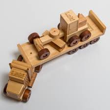 100 Wooden Truck Toy And Flat Trailer With Grader Grandpas Toys