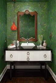 interiors powder room with green leaves called lush wallpaper by