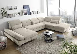 funktionale melfi sofa schlafcouch bettsofa schlafsofa sofabett wohnlandschaft ausziehbar sand beige ottomane rechts u form