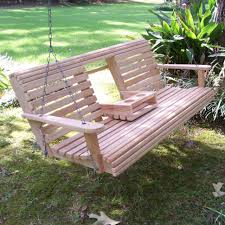 Bench Outdoor Porch Swing Wooden Porch Swing With Cup Holder