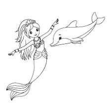 Dolphin Enjoying With Mermaid Coloring Pages