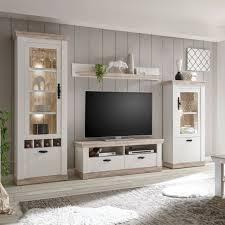 wohnwand weiß landhaus anbauwand wohnkombi wohnzimmer set