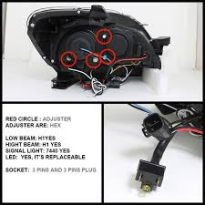 spyder auto toyota yaris 07 11 4dr projector headlights led
