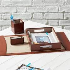 Leather Desk Blotter Australia by Personalised Deluxe Leather Desk Set Complete By Ginger Rose