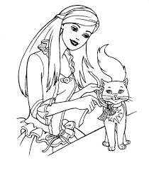 Cat And Barbie Coloring Pages
