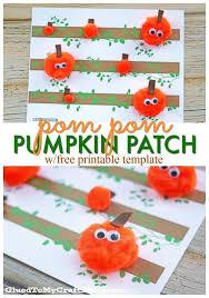 Pom Pom Pumpkin Patch Kid Craft idea w free printable template