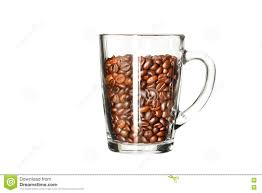 Download Coffee Beans In A Transparent Cup On White Background Stock Photo