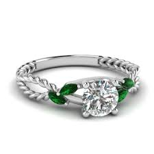 Vintage Style Emerald Engagement Rings