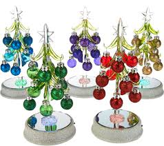 Qvc Christmas Tree Recall by Kringle Express Set Of 5 Glass Trees With Ornaments In Gift Boxes