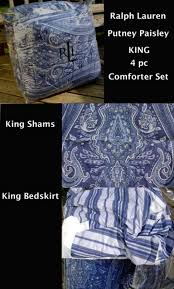 Discontinued Ralph Lauren Bedding by Ralph Lauren Blue Putney Paisley King Comforter 4pc Set Ebay