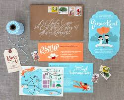 Design A Wedding Invitation Blue Airplane Theme With Cute Bridal Images Map And Respon Card On Brown Rustic Envelope Designs