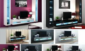 tv white solid wood wall mount tv stand with blue led light