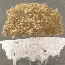 moderne leinwandbilder wohnzimmer goldener baum auf grau