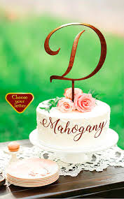 Letter D Cake Topper Toppers For Wedding Rustic Initial Monogram Gold CT336