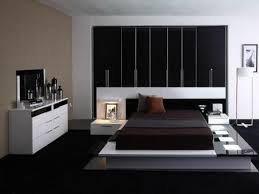 Decoration Dashing Contemporary Bedroom Designs With Black Sheet On Unique Bed Side Picture White
