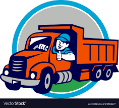Dump Truck Driver Thumbs Up Circle Cartoon Vector Image