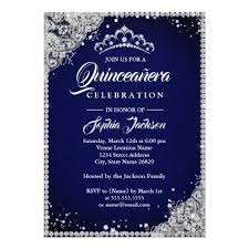 Diamond Lace Sparkle Navy Silver Quinceanera Card