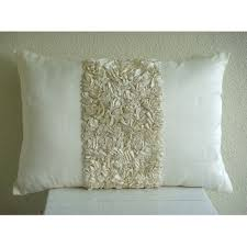 Decorative Lumbar Throw Pillows by Amazon Com Handmade Ivory Lumbar Pillow Cover Textured Ribbon