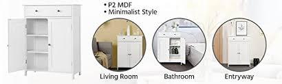 yaheetech badezimmerschrank badschrank badkommode badregal sideboard schrank mit schublade badezimmer wohnzimmer 80cm hoch