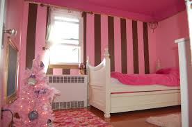 Colorful Girls Room Paint Special Color Scheme For Pink Strip Wall Painting