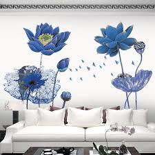 großhandel vintage poster blau lotus blume 3d tapete wandaufkleber chinesischen stil diy kreative wohnzimmer schlafzimmer wohnkultur kunst linita