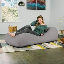Jaxx Arlo Chaise Lounger Bean Bag Chair - Premium Chenille, Grey