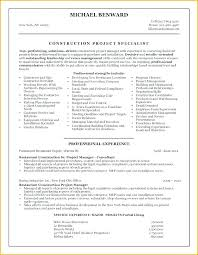 Construction Project Manager Resume Sample Best Of Template Templ