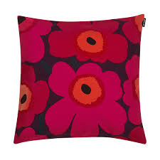Marimekko Pieni Unikko Plum Red Throw Pillow Marimekko Fabric
