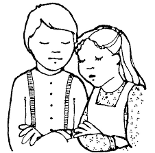 Children Praying Clipart Black And White