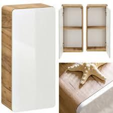 details zu badezimmer hängeschrank in hochglanz weiß badmöbel oberschrank wandschrank eiche