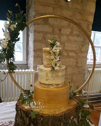 Semi Naked Wedding Cake With Edible Gold By White Rose Design Cakes In