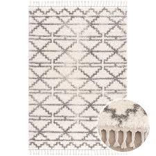 teppich wohnzimmer hochflor creme grau deko schlafzimmer soft shaggy mit fransen rauten muster oeko tex 100 standard allergiker geeignet