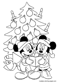 Disney Mice Caroling By Tree Color Page