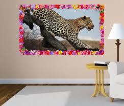 3d wandtattoo leopard tier baum raubkatze afrika blumen rahmen wandbild wohnzimmer wand aufkleber 11l1090 wandtattoos und leinwandbilder
