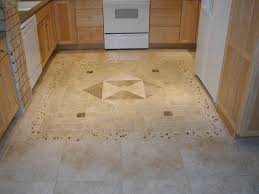 big and small tile kitchen floor combined with brown wooden