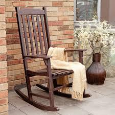 Indoor/Outdoor Patio Porch Dark Brown Slat Rocking Chair