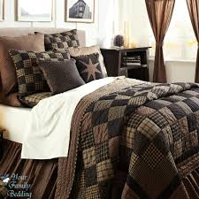 Black country primitive patchwork quilt set for twin queen cal